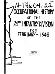 Occupational History Of The 24th Infantry Division For