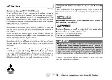 Car Service Manuals: mitsubishi 2015-mirage : Free