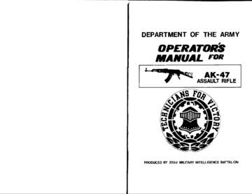 AK-47 Assault Rifle, Operator's Manual : Free Download