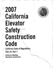 Title 24, Part 7, 2007 California Elevator Safety