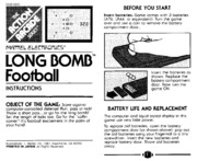 Handheld Game Manual: Electronic Quarterback (Coleco