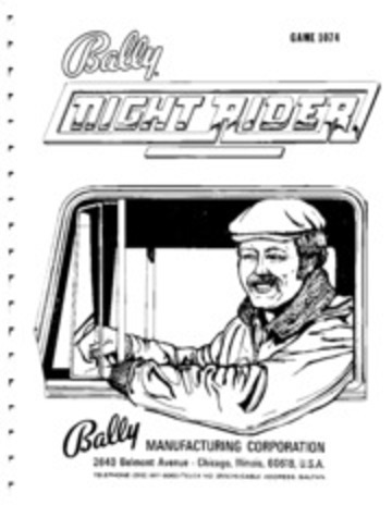 Arcade Manual: Night Rider, by Bally Manufacturing