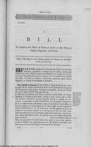 Bill to regulate Office of Clerk of Assize or Nisi Prius