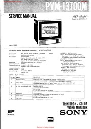 Sony Monitor Manual: PVM 2730QM Service Manual : Free