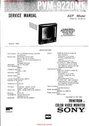 Sony Monitor Manual: PVM 2042QM 2044QM Service Manual