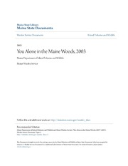 You Alone in the Maine Woods, 2003 : Maine Department of