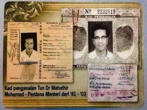 Image result for kad pengenalan Mahathir tertulis a/k kutty