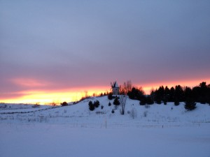 The sun was setting on my sleigh ride at Le Baluchon