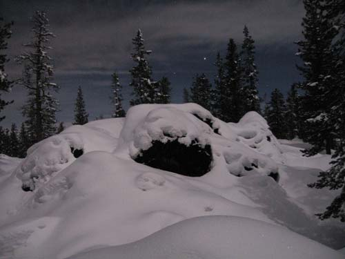 snowshoeing at night- snow and night sky