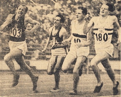 Zátopek (L) surges forward in the last turn of the 1952 Olympic 10000 meter race, outlasting Alain Mimoun Mimoun, Herbert Schade, and No. 180 Christopher Chataway, losing the lead and falling.