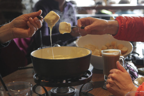 cheese fondue at Sunshine Mountain Lodge, BC
