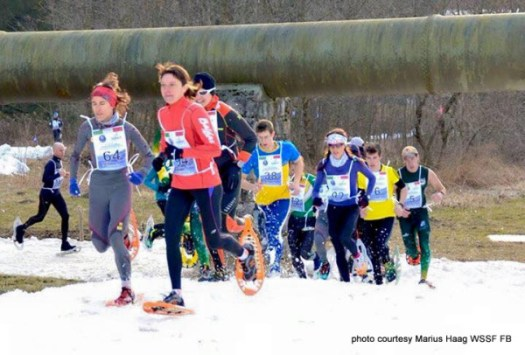 Racers navigate the snowshoe highway in their quest to place or finish the WSSF Championships