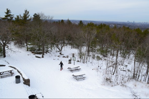 view from Blue Hills Eliot Tower- snowshoeing near Boston