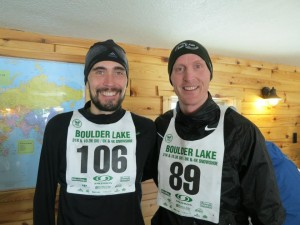Hartmark (L) and Kelly Mortensen combine for a snowshoe racing duo