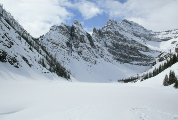It's definitely still winter if you hike above Lake Louise in April
