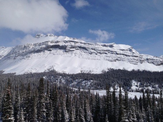 Views down to the Icefields Parkway from above the Hilda Creek Hostel
