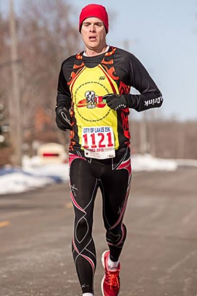 Brian Davenport all by himself at the finish line. Photo by Wayne Kryduba