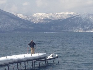 Snowy Hokkaido Lake Pier