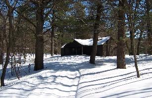 snowshoe 2015 Yankee Springs snow on cabin