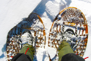 looking down at traditional snowshoes