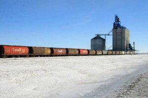 Canadian train in Manitoba