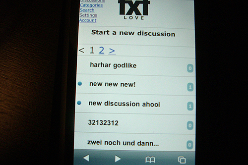 txtlove, mobile, ipod touch, entwicklung