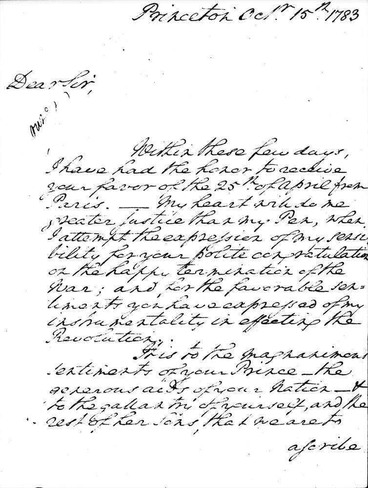 KN-17931. First Page of a Letter from George Washington to