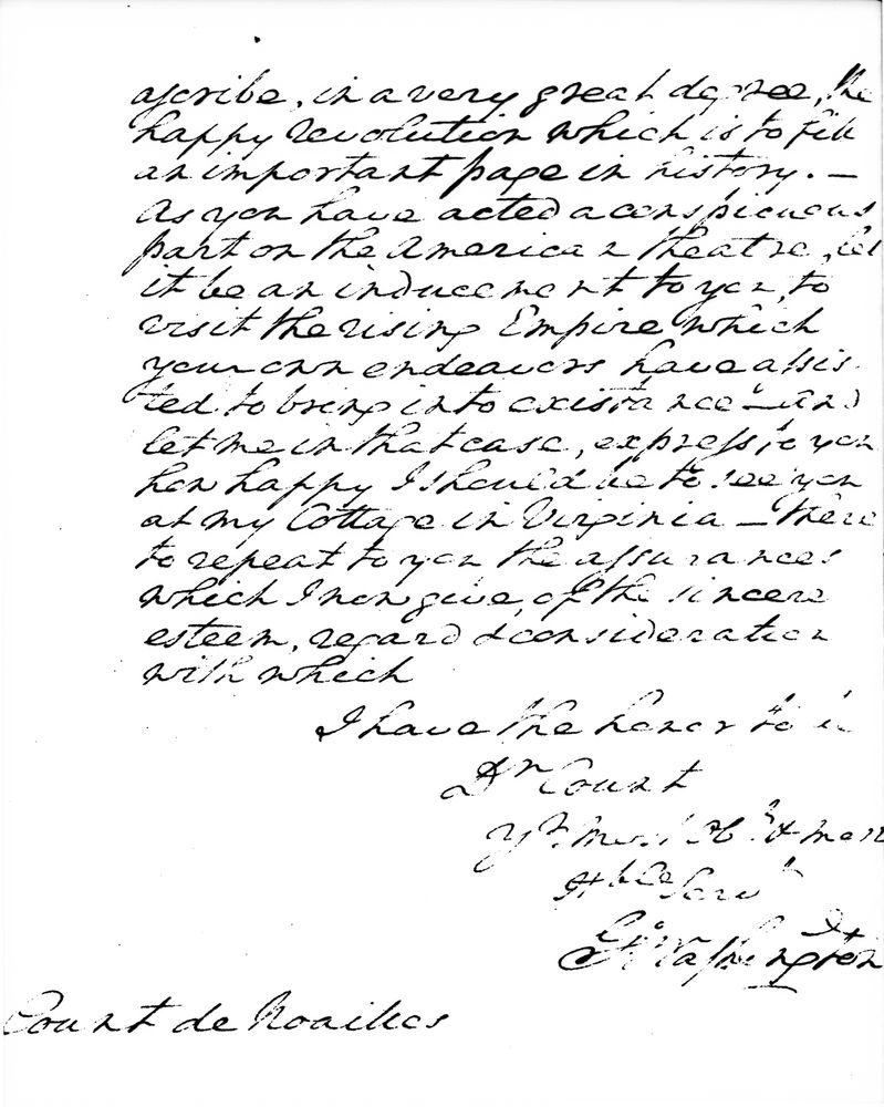 George Washington letter to the Count de Noailles, dated