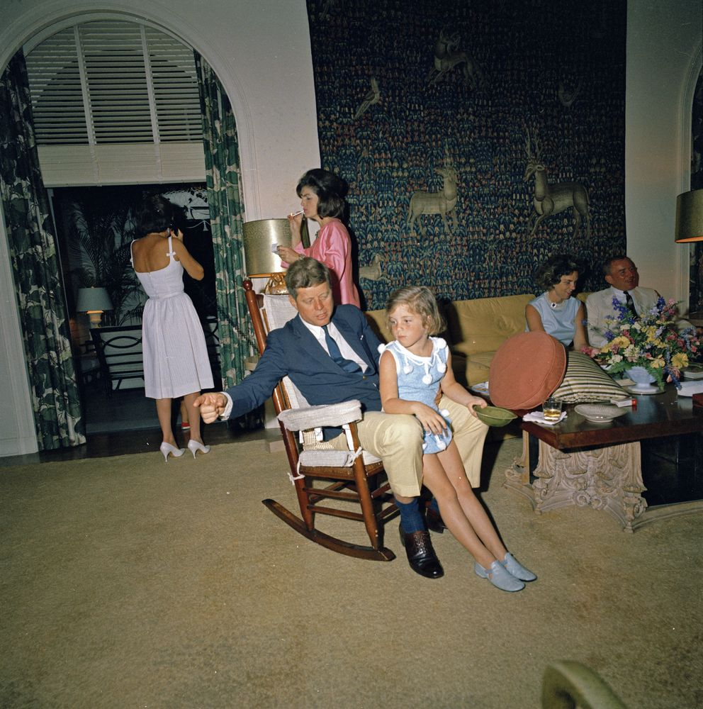 kennedy rocking chair bed single st-c83-16-63. president john f. with caroline during easter celebrations in palm ...