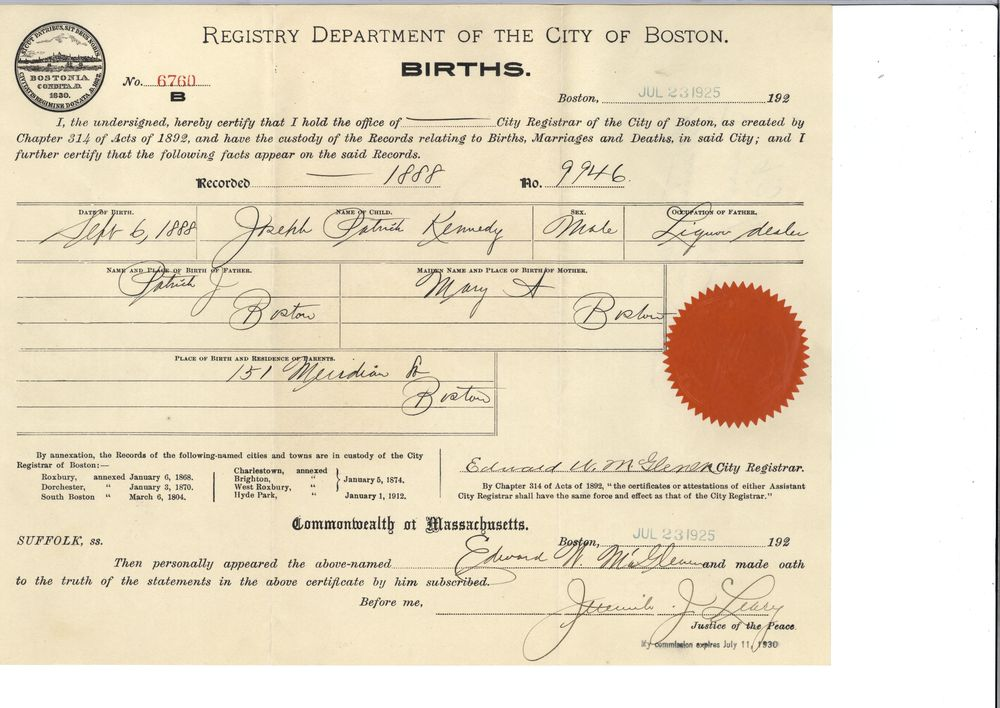 Birth certificate - John F. Kennedy Presidential Library & Museum