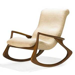 vladimir kagan rocking chair kitchen wooden chairs realized price for b 1927 designs inc contour no 175f usa 1970s sculpted walnut wool unmarked 38 x 31 1 2 43