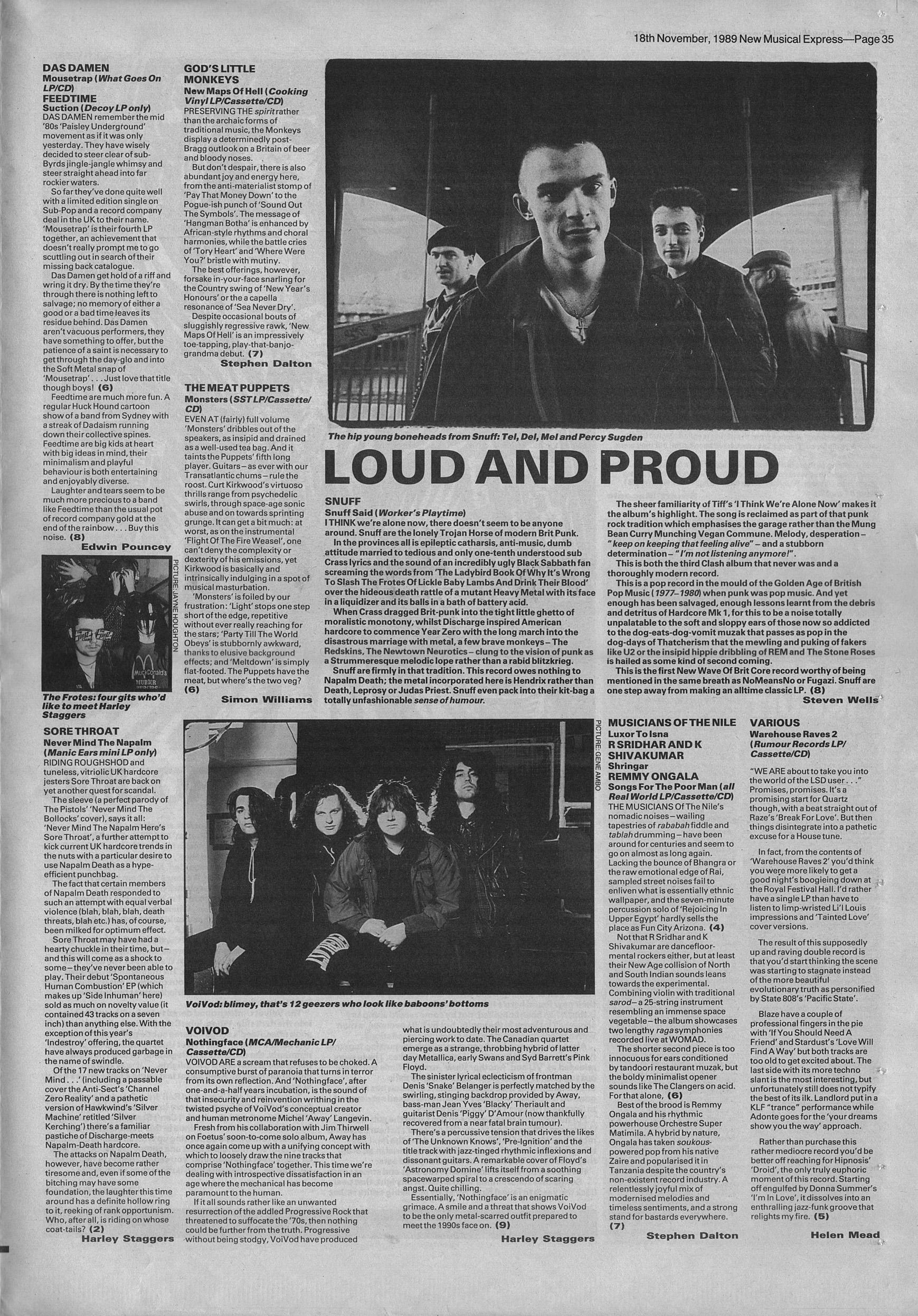 Steven Wells reviews Snuff Said by Snuff, 18th Novemeber 1989