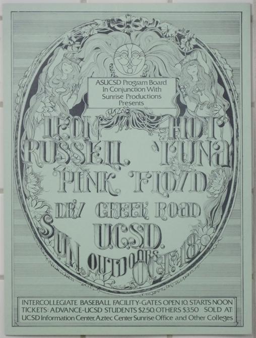 leon russell pink floyd hot tuna ucsd 1970 mini poster listing 8297
