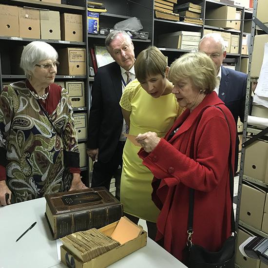 Estonian President Kersti Kaljulaid visits the Archive, October 2018