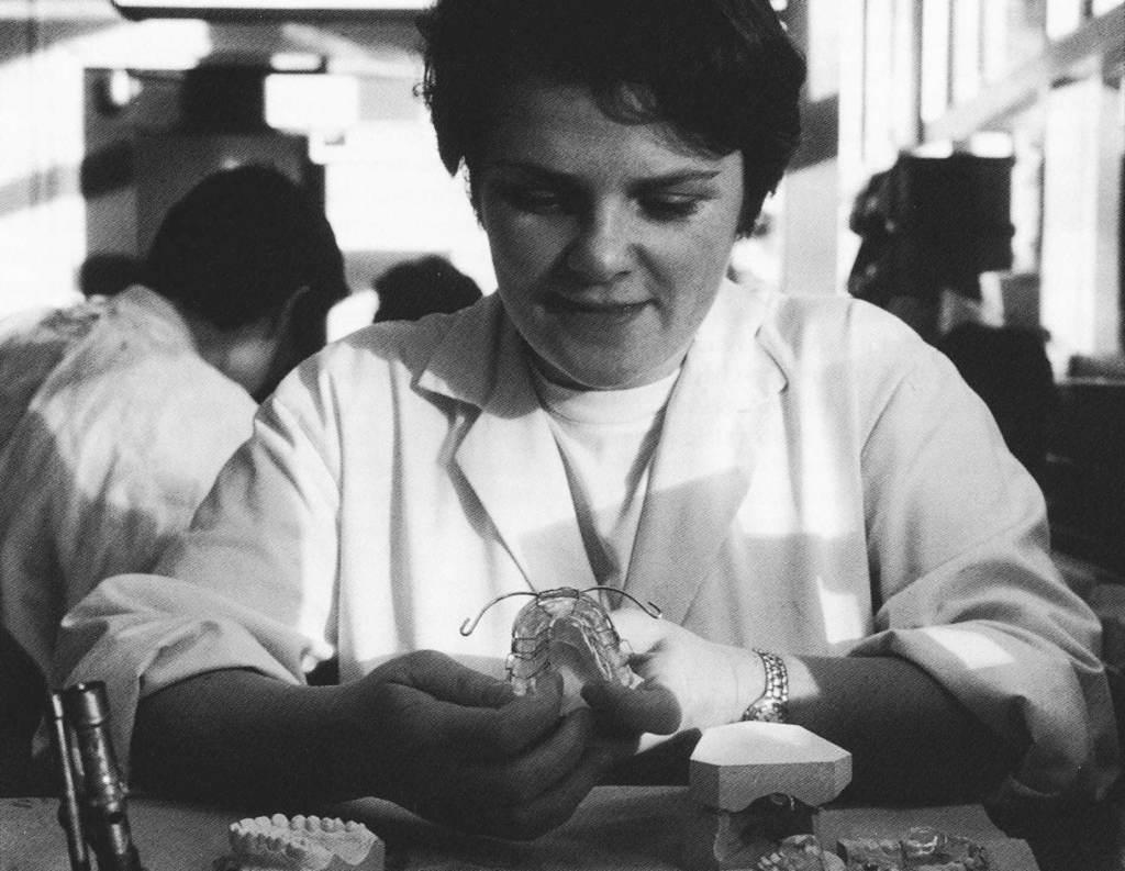 Technician working on an orthodontic appliance