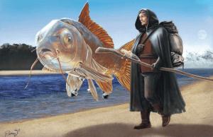 Naevro et Burrim sont des exemples de personnages que l'on peut rencontrer dans le Ninth World. Burrim est une carpe géante très intelligente qui vit sur terre grâce a un Numenera.