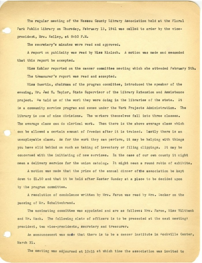 NCLA Meeting Minutes from February 13th, 1941
