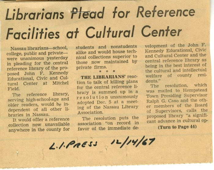 Librarians Plead for Reference Facilities at Cultural Center