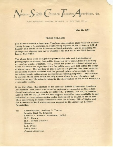 Nassau Suffolk Classroom Teacher Association: Press Release May 10, 1966
