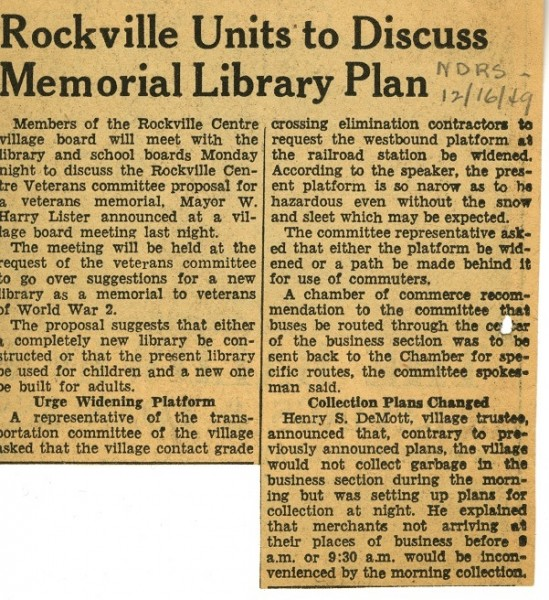 Rockville Units to Discuss Memorial Library Plan, 1949