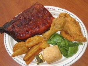 Baby-back pork ribs, Broaster fried chicken, fresh-baked biscuits and green beans stand out at Double R Ribs and Chicken in Oxford.