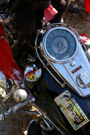 The speedometer and gas tank of the 1948 Harley-Davidson FL with the hand shift on the left side. Bud Wilkinson / Republican-American
