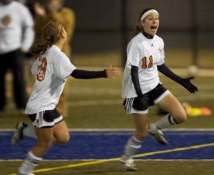 WATERBURY, CT- 29 OCTOBER 2008 --102908JS02--Watertown's Sabrina Sinopoli (11) celebrate her game winning goal in their 2-1 win over Naugatuck in the NVL girls soccer Finals Wednesday at Municipal Stadium in Waterbury Jim Shannon / Republican-American