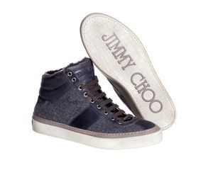 The debut of the relaunched men's footwear collection for Jimmy Choo has a little something for everyone, including the High Top Trainer Flannel Shearling Charcoal. Most of the collection will retail between $595 and $1,095. Credit: MCT