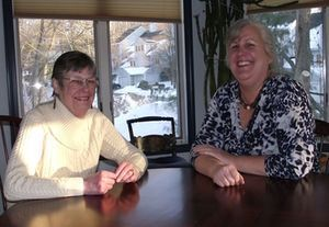 Robbin Goodskey of New Hartford and her mother, Barbara Byrne of Canton, chat about the upcoming Travelers Walk MS and their fundraising efforts. Both women were diagnosed with multiple sclerosis. For the first time, Goodskey is forming a Walk MS team. Credit: contributed