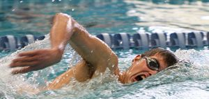 Winsted, CT-030312MK31 2012 Litchfield's Henry Kayle won the 200 yard freestyle with a time of 1:53:28 during the annual Berkshire League Swimming & Diving Championships Saturday afternoon at the Hotchkiss School pool in Lakeville. Litchfield took home the over all title. Michael Kabelka / Republican-American