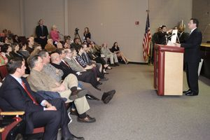 Gov. Dannel Malloy answers a question Thursday night in the auditorium at Torrington High School. It was the latest stop on Malloy's education reform tour. The meeting brought out a near full house with teachers, parents and administrators. Erin Covey Republican-American.