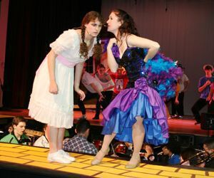 Nicole Currier, left, is Dorothy and Kelly Brennan is Addaperle in 'The Wiz. Credit: Torrington High School