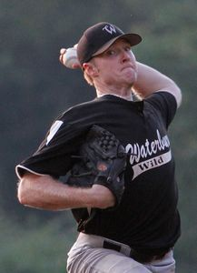 WATERBURY, CT- 10JULY072412MK11 ACTIONMAN Waterbury Wild's Ken Keaski throws a pitch during their opening round against Fedell in the Stan Musial state tournament Tuesday evening at Waterville park in Waterbury. Michael Kabelka / Republican-American