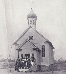 Some of the earliest parishioners of Saints Cyril & Methodius Orthodox Church assemble on the steps of their newly built church in Terryville in 1912. This weekend the church is marking its 100th Anniversary. Contributed photo.